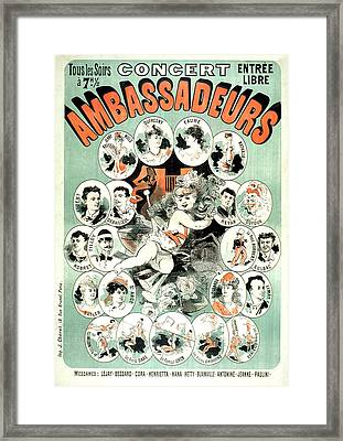 Concert Ambassadeurs Vintage French Advertising Poster 1877 Framed Print by Presented by Joy of Life Art