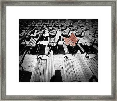 Concert Benches Framed Print by Perry Webster