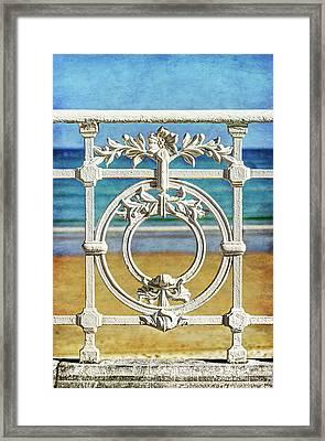Concha Bay Railing In San Sebastian Framed Print
