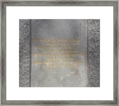 Concord Hymn Framed Print