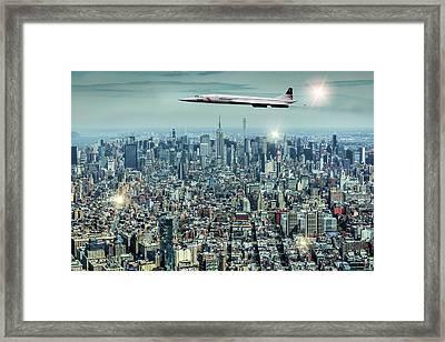 Concord Over Manhattan, New York City, Ny. Framed Print by Smart Aviation Art
