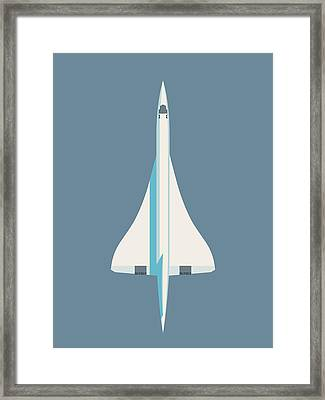 Concorde Jet Passenger Airplane Aircraft - Slate Framed Print