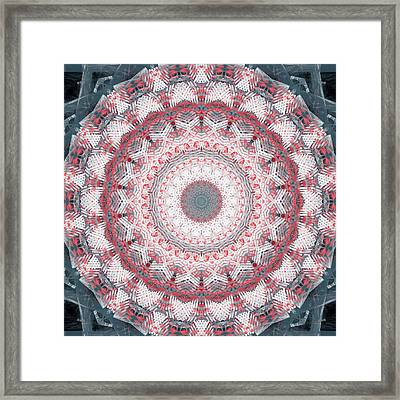 Concrete And Red Mandala- Abstract Art By Linda Woods Framed Print by Linda Woods