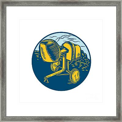 Concrete Mixer Circle Woodcut Framed Print