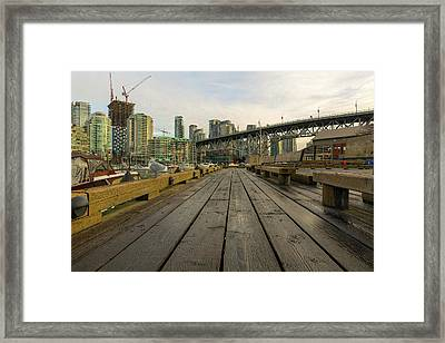 Condominium Buildings Along Granville Island Vancouver Bc Framed Print