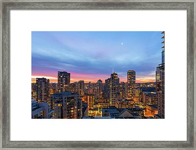 Condominium Buildings In Downtown Vancouver Bc At Sunrise Framed Print