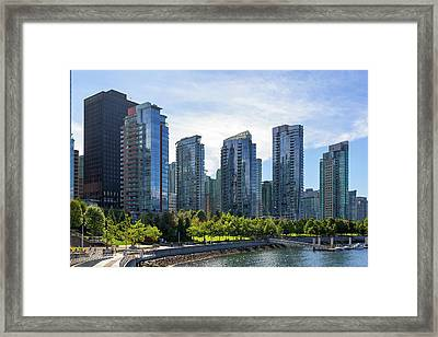 Condominium Waterfront Living In Vancouver Bc Framed Print by David Gn