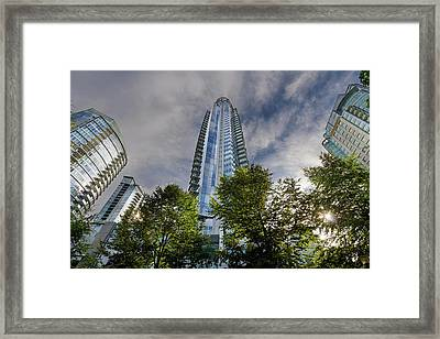 Condominiums Along Waterfront In Vancouver Bc Framed Print by David Gn