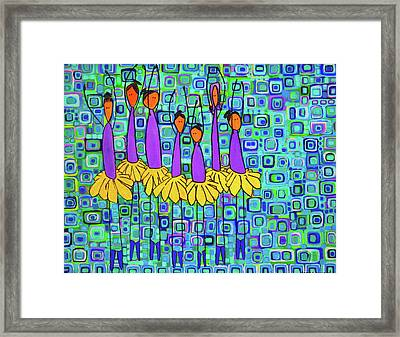 Framed Print featuring the painting Coneflower Ballet by Donna Howard