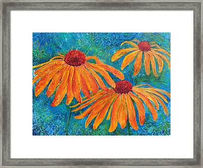 Framed Print featuring the painting Coneflower Trio by Chris Rice