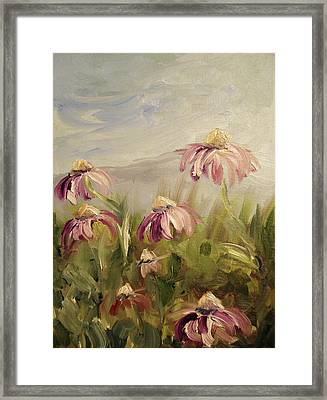Framed Print featuring the painting Coneflowers by Donna Tuten