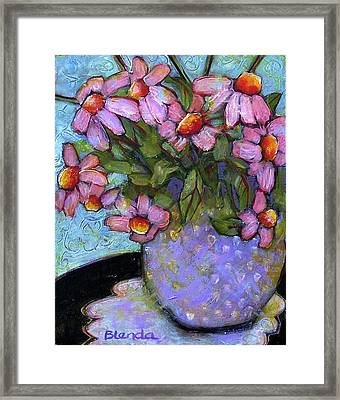 Coneflowers In Lavender Vase Framed Print by Blenda Studio