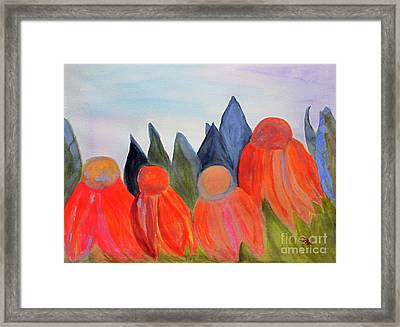 Framed Print featuring the painting Coneflowers by Sandy McIntire