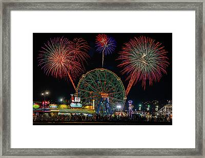 Coney Island At Night Fantasy Framed Print