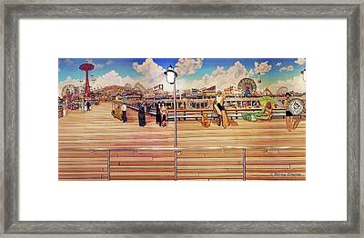 Coney Island Boardwalk Framed Print by Bonnie Siracusa