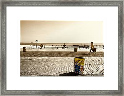 Coney Island Boardwalk Framed Print