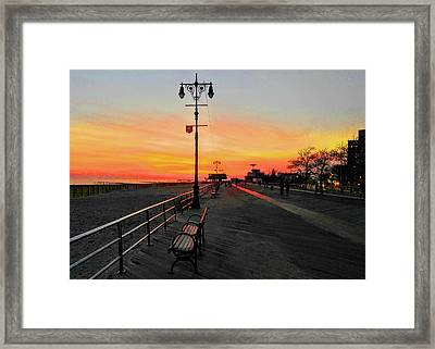 Coney Island Boardwalk Sunset Framed Print