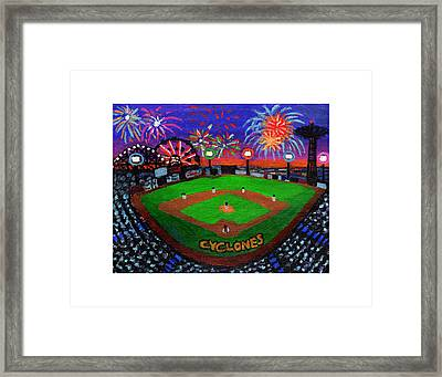 Coney Island Cyclones Fireworks Display Framed Print by Bonnie Siracusa