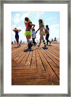 Coney Island Encounters Framed Print by Valentino Visentini