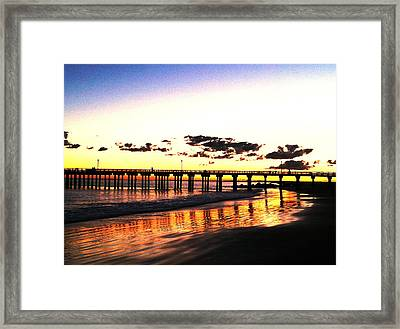 Coney Island Pier Sunset Framed Print by Frank Winters