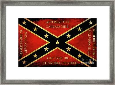Confederate Battle Flag With Battles Framed Print