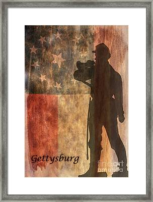 Confederate Flag And Bugler Gettysburg  Framed Print by Randy Steele