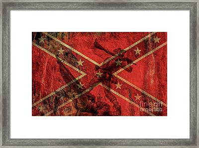 Confederate Flag And Mississippi Monument Framed Print by Randy Steele