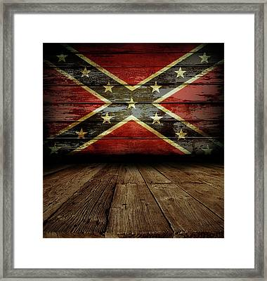 Confederate Flag On Wall Framed Print by Les Cunliffe