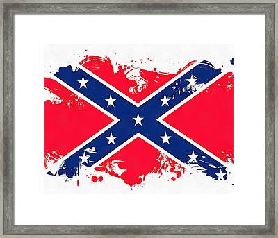 Confederate Flag Paint Splatter Framed Print by Dan Sproul