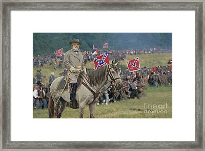 confederate Gen Robert E Lee and traveller his horse Framed Print by William Mace