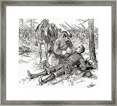 Confederate General John Brown Gordon Assists Wounded Union General Francis Channing Barlow Framed Print by American School