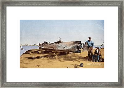 Confederate Submarine, Hunley Framed Print by Conrad Wide Chapman