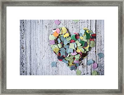 Confetti Heart Framed Print by Nailia Schwarz