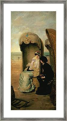 Confidences On The Beach Framed Print