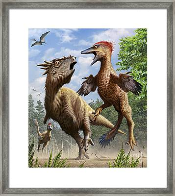Confrontation Between Pectinodon Framed Print
