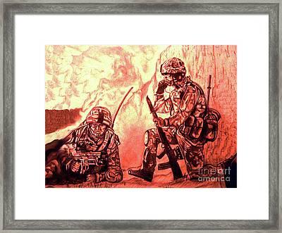 Confrontation Framed Print by Johnee Fullerton