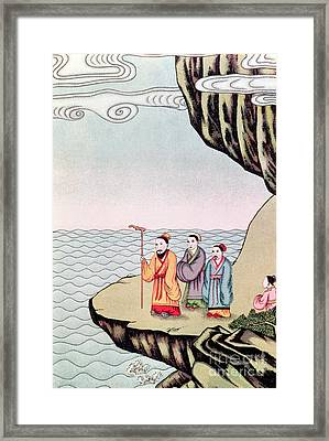 Confucius Contemplating The Course Of A River Framed Print