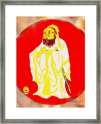 Framed Print featuring the painting Confucius Wisdom Bright Red by Richard W Linford