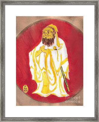 Framed Print featuring the painting Confucius Wisdom by Richard W Linford