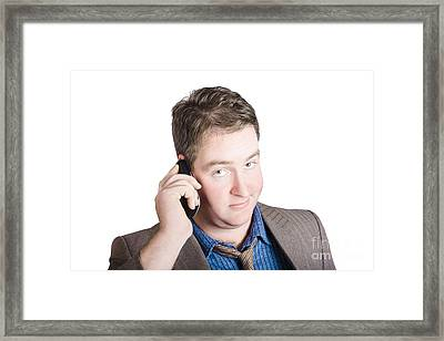 Confused Business Person On Cell Phone. Close Call Framed Print by Jorgo Photography - Wall Art Gallery