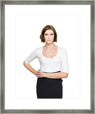 Confused Unsure And Hesitant Business Woman Framed Print
