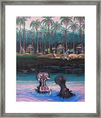 Congo Wash Day Framed Print by Marjorie Hause