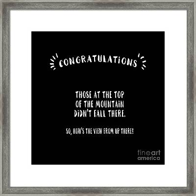 Congratulations, Well Done Framed Print
