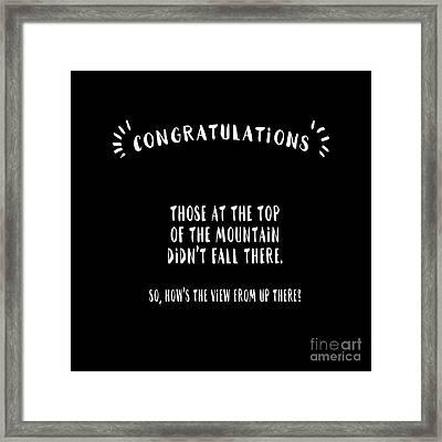Congratulations, Well Done Framed Print by Liesl Marelli