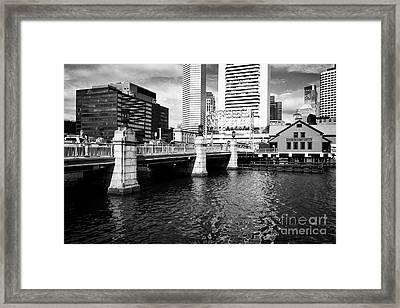 congress street bridge and Boston tea party museum site USA Framed Print