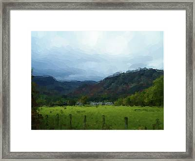 Framed Print featuring the digital art Coniston Watercolour Sketch by John Lowe