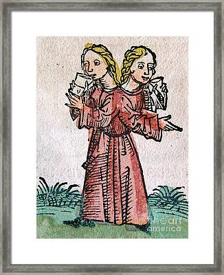 Conjoined Twins, Nuremberg Chronicle Framed Print by Science Source