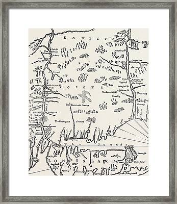 Connecticut From A Map Of New England Framed Print