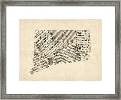 Connecticut Sheet Music Map Framed Print by Michael Tompsett