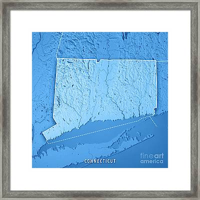 Connecticut State Usa 3d Render Topographic Map Blue Border Framed Print